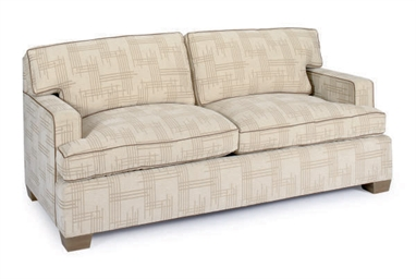 A BEIGE VELORE UPHOLSTERED TWO