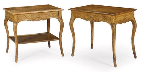 A PAIR OF FRENCH OAK SIDE TABL