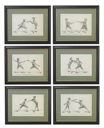 NINE ENGRAVINGS OF FENCING DUE