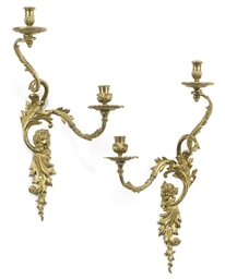 A PAIR OF ENGLISH ORMOLU TWIN-