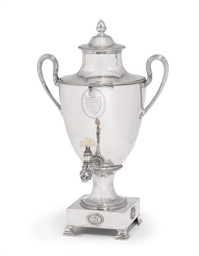 A GEORGE III SILVER TEA URN OF