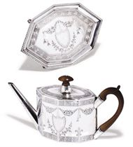 A GEORGE III OCTAGONAL SILVER TEAPOT AND STAND EN SUITE
