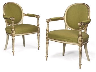 A PAIR OF GEORGE III CREAM-PAI