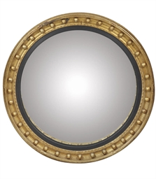 A LARGE GILTWOOD CONVEX MIRROR