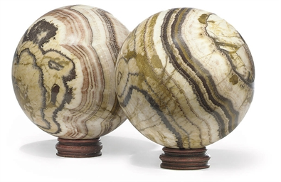 A PAIR OF LARGE JASPER AND ARA