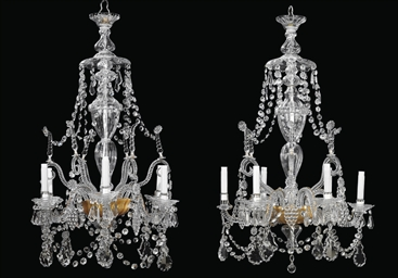 A PAIR OF GLASS SIX-LIGHT CHAN