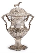 A VICTORIAN SILVER TWO-HANDLED CUP AND COVER