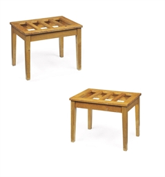A PAIR OF EDWARDAIN OAK LUGGAG