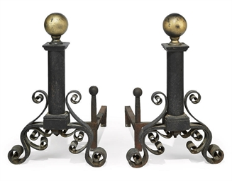 A PAIR OF AMERICAN CAST IRON A