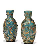 A PAIR OF LUDWIG MOSER ENAMELLED GLASS VASES