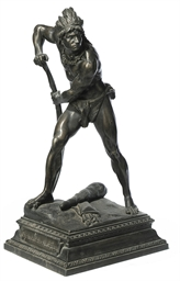A SPELTER MODEL OF A NATIVE AM