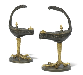 A PAIR OF RUSSIAN GILT AND PAT