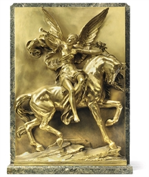 A FRENCH GILT-BRONZE RELIEF OF