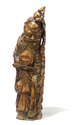 A CHINESE BAMBOO CARVING OF AN