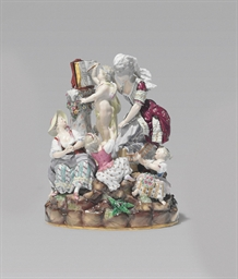 A MEISSEN (OUTSIDE DECORATED)