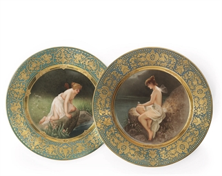 TWO VIENNA PORCELAIN CABINET P