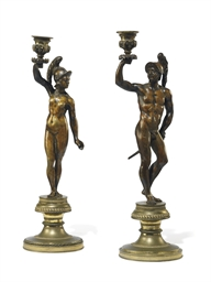A PAIR OF NORTH ITALIAN BRONZE