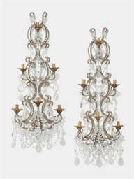 A PAIR OF GLASS AND GILT IRON