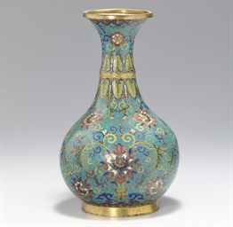 A CLOISONNE ENAMEL PEAR-SHAPED