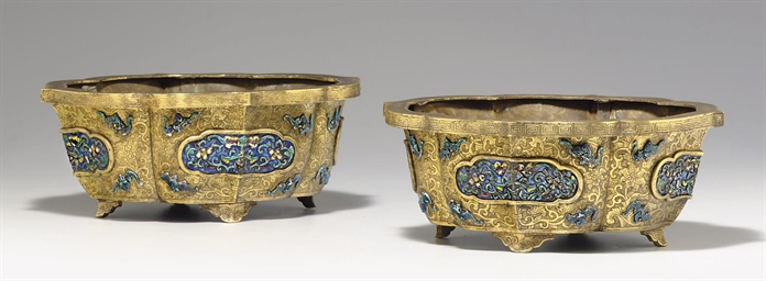 A PAIR OF ENAMEL AND GILT-BRON