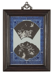 AN UNUSUAL FRAMED BLUE AND WHI