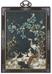 A LARGE FRAMED PAINTED IVORY A