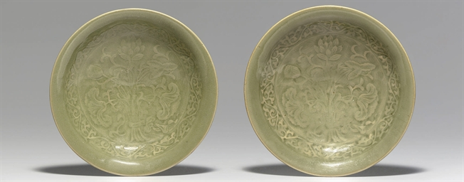A PAIR OF YAOZHOU CELADON MOLD