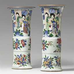 A PAIR OF WUCAI BEAKER VASES