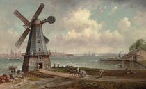 Lower Manhattan with the Last Windmill in New Jersey