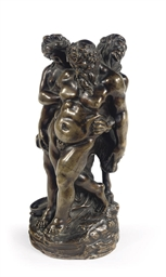 A BRONZE GROUP OF SILENUS, PAN