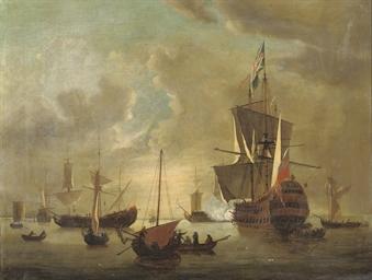 A Dutch man o'war firing a sal