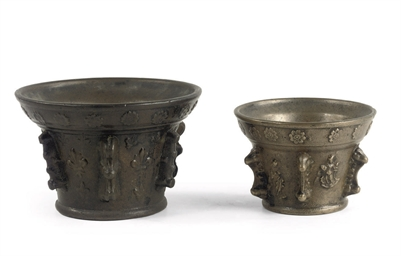 TWO FRENCH BRONZE MORTARS