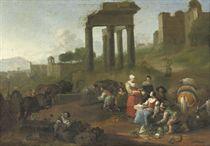 A market place amongst ancient ruins