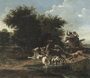 A deer hunt in a wooded landsc