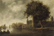 A wooded river landscape with sailing vessels, a castle nearby