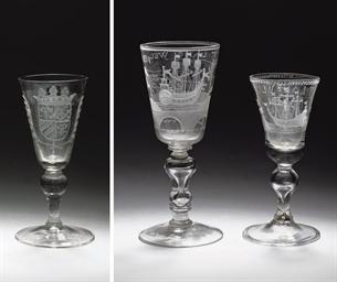 Three Dutch engraved goblets