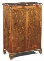 A LOUIS XV TULIPWOOD, AMARANTH, MAHOGANY, FRUITWOOD AND MARQUETRY SECRETAIRE A ABATTANT