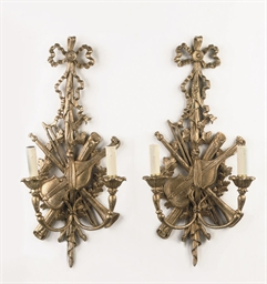 A PAIR OF DUTCH GILTWOOD TWO-L