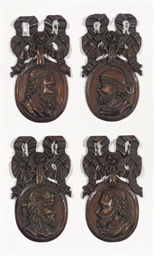 A set of four Dutch carved woo