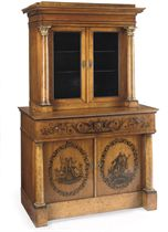 A SOUTH GERMAN BIEDERMEIER PEN-ENGRAVED CHERRYWOOD AND STAINED FIELD MAPLE DISPLAY CABINET