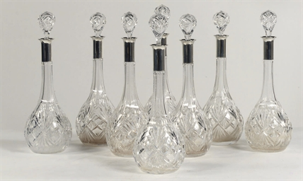 A set of eight German cut-glas