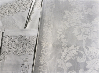 Five damask linen tablecloths