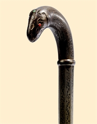 A BIDRI INDIAN WALKING STICK,