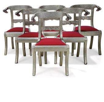 A SET OF SIX INDIAN SILVER METAL MOUNTED DINING CHAIRS MID 20TH CENTURY P