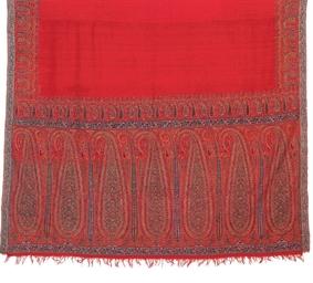 A RED JAMAWAR SHAWL