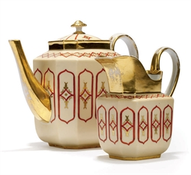 A GOTHIC REVIVAL TEAPOT AND CO