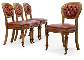 A SET OF FOUR VICTORIAN OAK DI