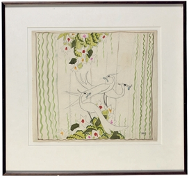 A set design with herons