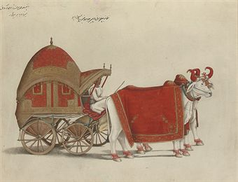 The Bullock-drawn carriage of Prince Mirza Babur