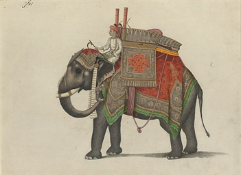 Elephant and driver, probably